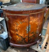 CHINOISERIE STYLE HAND PAINTED CORNER CABINET