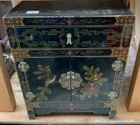 CHINOISERIE STYLE HAND PAINTED BEDSIDE CABINET