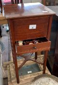 MAHOGANY SEWING BOX ON RAISED LEGS WITH CROSS STRETCHER