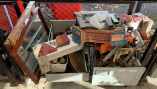 CAST IRON WALL BRACKETS, TRAILER BOARD, TAPESTRY MIRRORS ETC