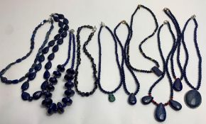 Ten Lapis Lazuli and other gemstone bead necklaces with interval beads to include coral, metal and
