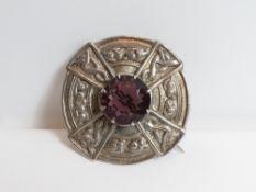 Robert Allison of Iona, a large silver purple paste set Scottish plaid brooch, Glasgow 1948, stamped