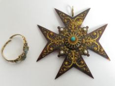 An early Victorian tortoiseshell and wire work Maltese Cross pendant; with a Victorian 12 carat gold