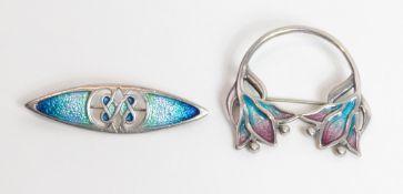 Carrick Jewellery, an enamel brooch, Edinburgh 1996; with another similar enamel brooch