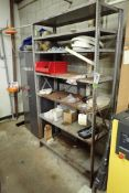 Lot of (2) shelving units and storage cabinets and contents including