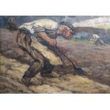 Emile Thysebaert (1873-1963): Farmers at work, oil on canvas