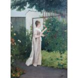 Auguste Serrure (1825-1903, in the manner of): Young lady in a flower garden, oil on panel