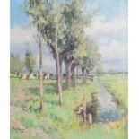 Adrianus Johannes (Arie) Zwart (1903-1981): 'Wilgen aan de sloot' (achter Woerden), oil on canvas