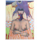 Jef Van Tuerenhout (1926-2006): 'Femme au chapeau oiseau', lithograph in colours, ed. E/A