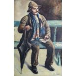 Al. Fain (Belgian school, 20th C.): Card player, oil on canvas
