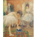 Marguerite Aers (1918-1995): Ballerinas, oil on canvas