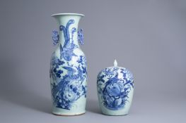 A Chinese blue and white celadon ground vase and a ginger jar with birds among blossoming branches,