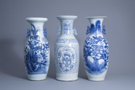 Three various Chinese blue and white and celadon ground vases, 19th/20th C.