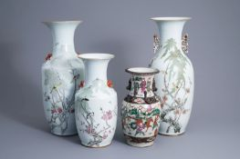 Three Chinese qianjiang cai vases with birds among blossoming branches and a Nanking crackle glazed