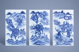 Three rectangular Chinese blue and white plaques with figures in a landscape, 19th C.