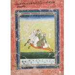 Jaipur school, India, ink and colour on paper: A miniature with two figures on horseback, 18th/19th