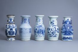 Five various Chinese blue and white vases, 19th/20th C.