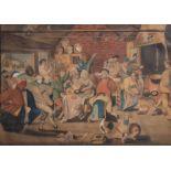 Flemish school, after Pieter Brueghel II (1564-1638): Peasants making merry in an interior, watercol