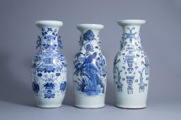 Three various Chinese blue and white and celadon ground vases, 19th C.