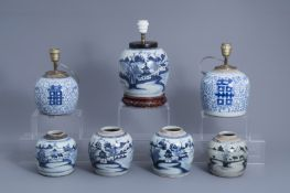 Seven Chinese blue and white jars, three with lamp mounts, 19th/20th C.