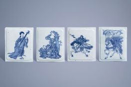 Four Chinese blue and white plaques with figures, 19th/20th C.
