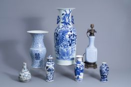 Six Chinese blue and white vases and one lamp mounted monochrome blue vase, Ming and later