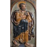 A large South European carved and polychrome painted alto relievo depicting Saint Peter, 17th C.