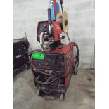 LINCOLN ELECTRIC CV-305 PORTABLE DIGITAL MIG WELDER WITH LINCOLN LF-72 WIRE FEED, CABLES, AND GUN,