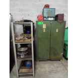 LOT/ WELDING SUPPLIES INCLUDING ELECTRODE OVER, CONSUMABLES, WELDING CABINET AND SHELF WITH