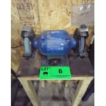"""POWER FIST 6"""" DOUBLE ENDED BENCH GRINDER WITH STAND, S/N: N/A"""