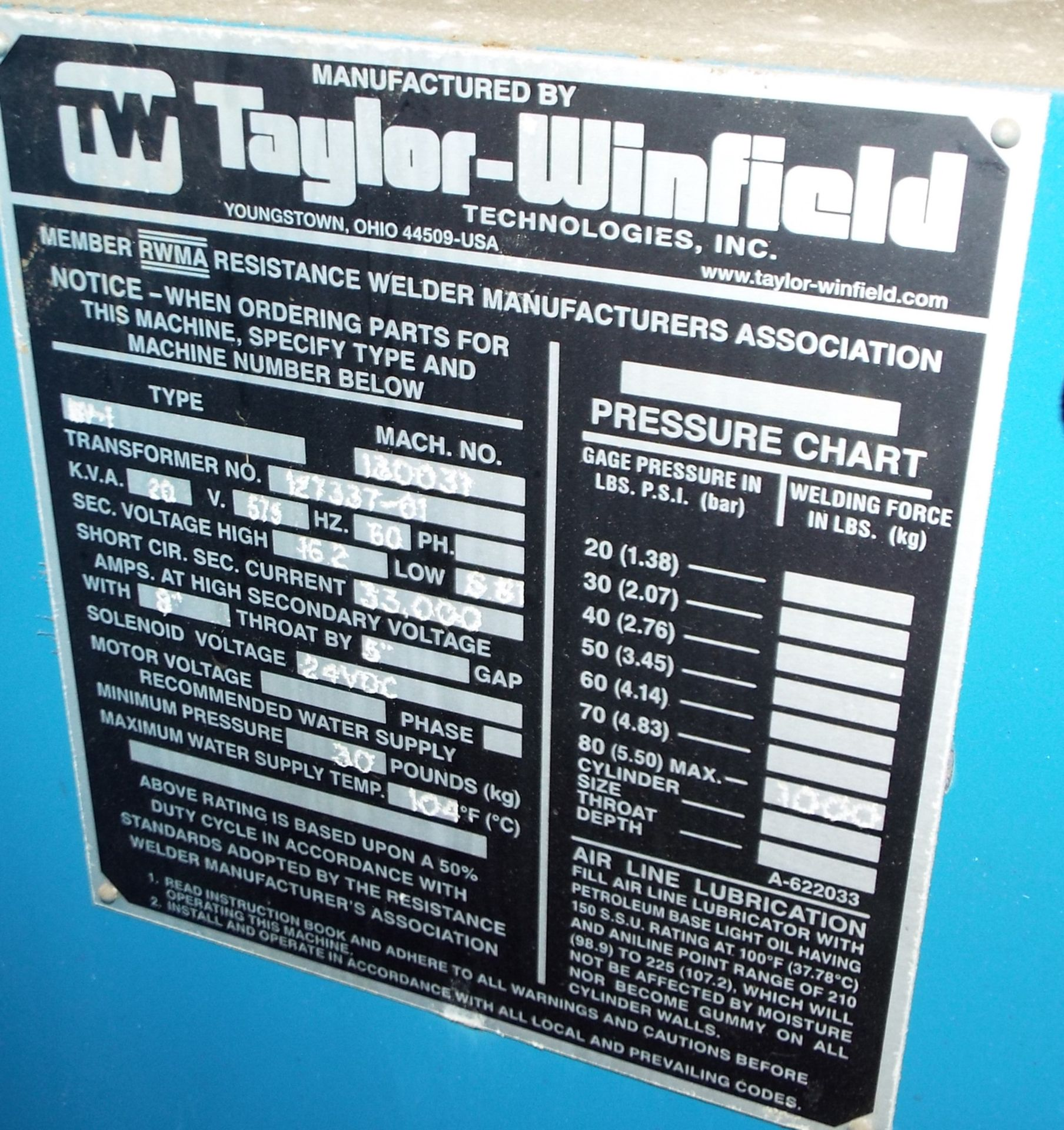 "Lot 11 - TAYLOR WINFIELD NV-1 SPOT WELDERS WITH UNITROL SOLUTION DIGITAL CONTROL, 20 KVA, 575V, 8"" THROAT, 6"""