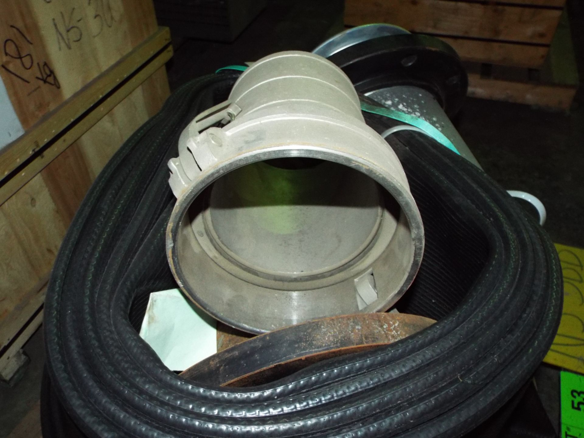 """Lot 53 - LOT/ CONTENTS OF SKID - EAGLE NITRILE 150 PSI CAP. HOSE WITH 8"""" DIA. (PLT NS-3BB)"""