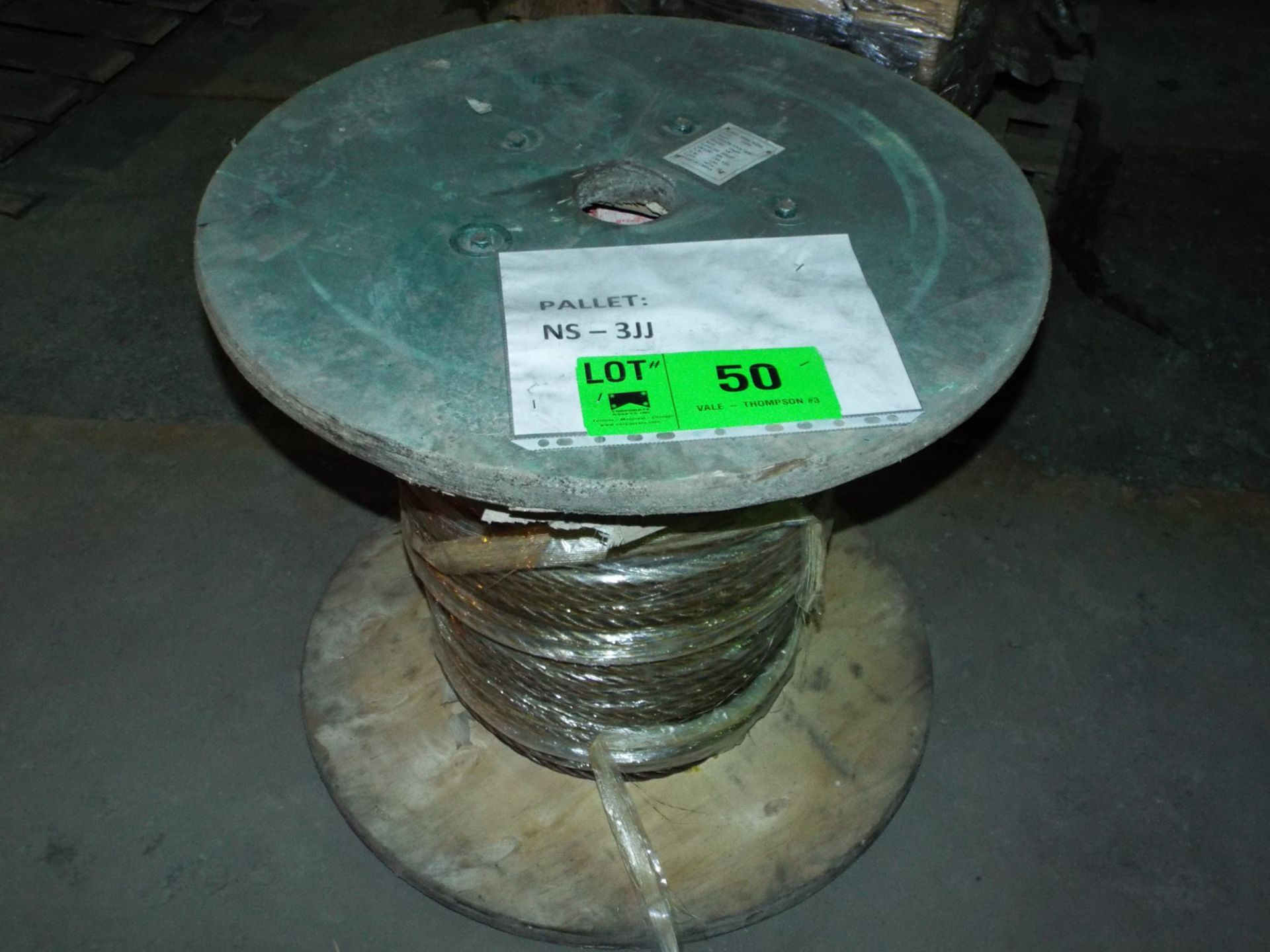 "Lot 50 - SPOOL OF STEEL WIRE ROPE 3/8"" DIA., APPROX. 500' (PLT NS-3JJ)"