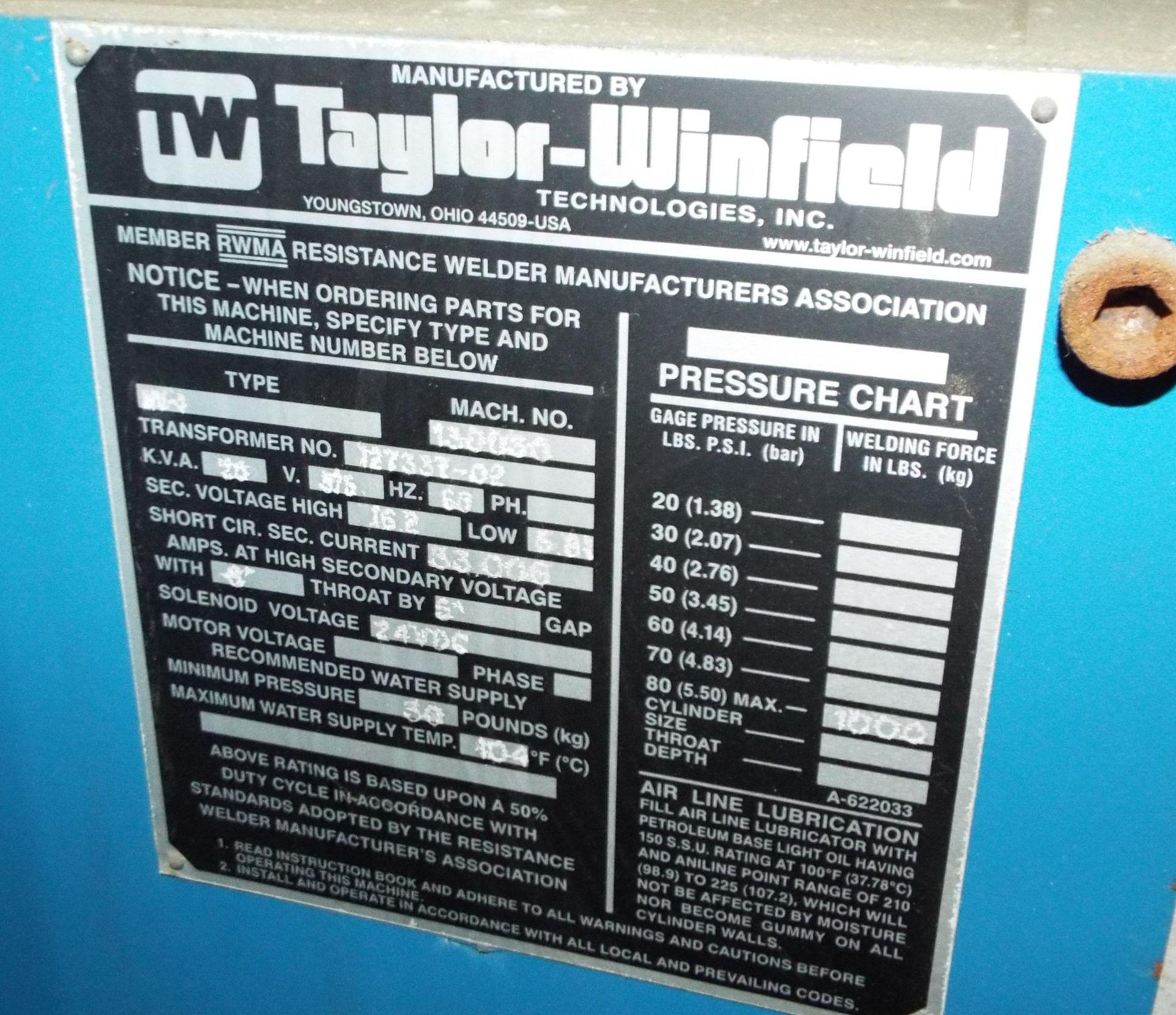 "Lot 10 - TAYLOR WINFIELD NV-1 SPOT WELDERS WITH UNITROL SOLUTION DIGITAL CONTROL, 20 KVA, 575V, 8"" THROAT, 6"""
