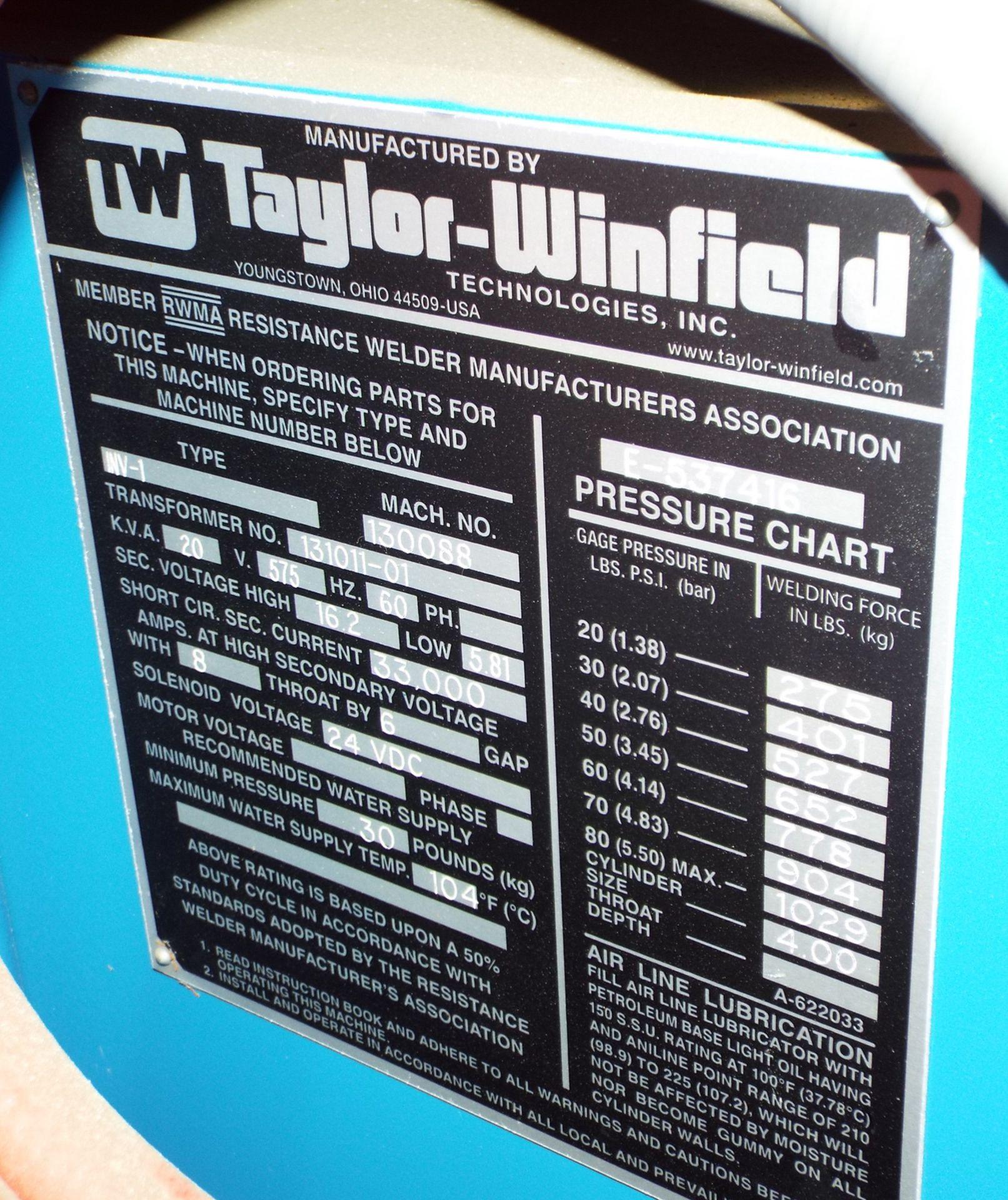 "Lot 12 - TAYLOR WINFIELD NV-1 SPOT WELDERS WITH UNITROL SOLUTION DIGITAL CONTROL, 20 KVA, 575V, 8"" THROAT, 6"""