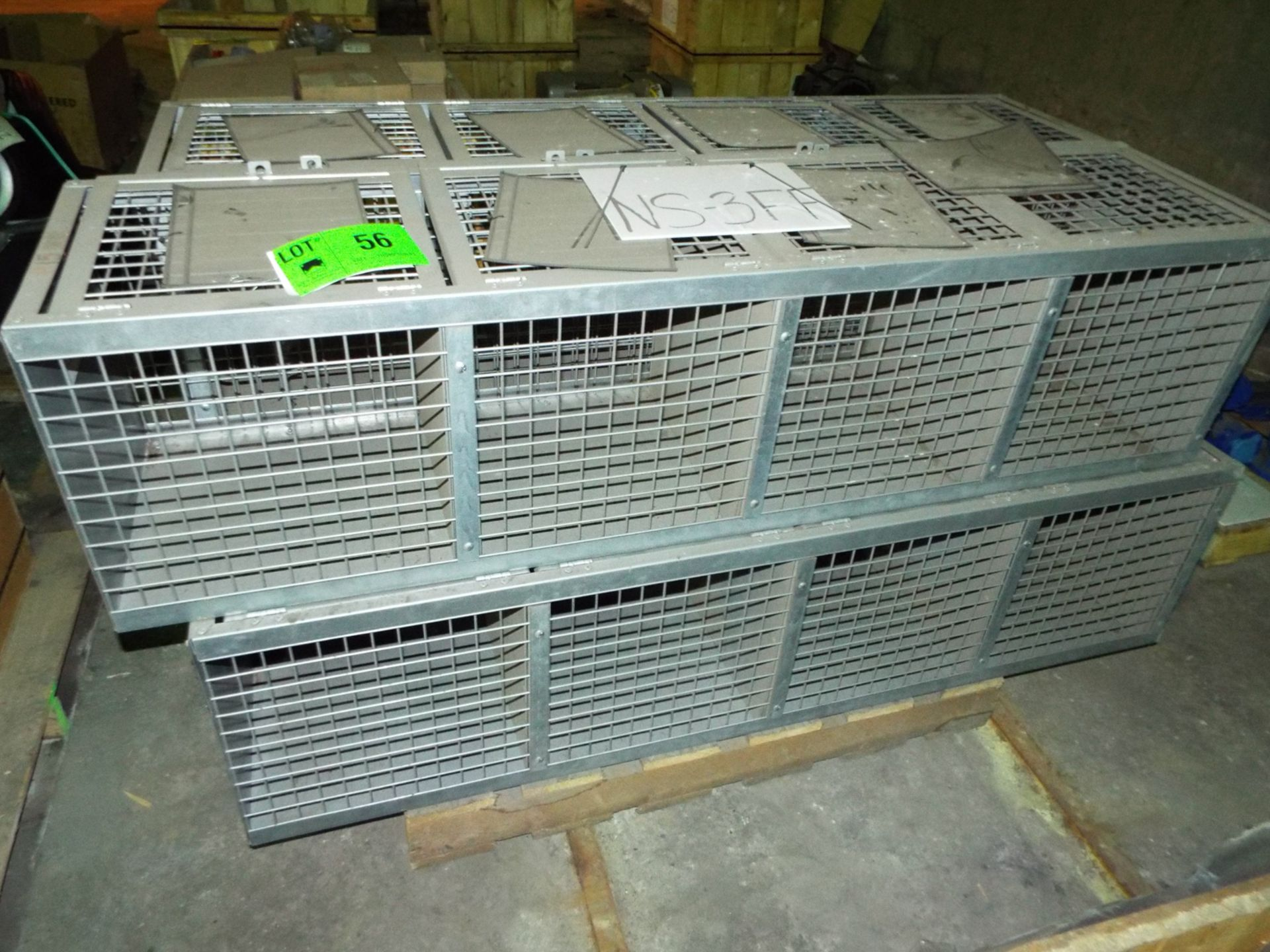 Lot 56 - LOT/ CONTENTS OF SKID - (4) FOLDING GUARD STOR-MORE STORAGE CAGES (PLT NS-3FF)