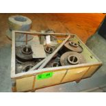 """LOT/ CONTENTS OF SKID INCLUDING BUT NOT LIMITED TO (8) REFINERY BUGGY WHEELS WITH 14"""" O.D., 6"""""""