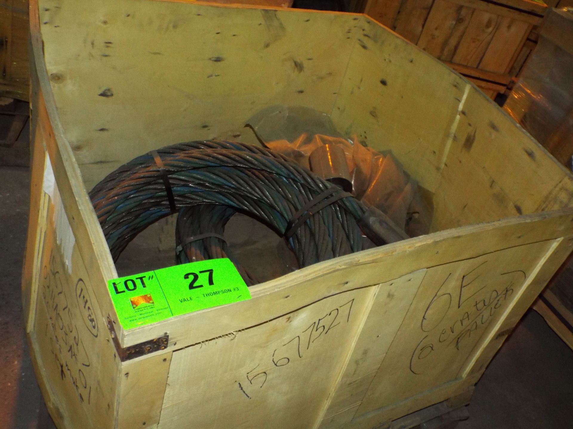 "Lot 27 - LOT/ CONTENTS OF CRATE - (2) BRIDGE SET HOISTING WIRE ROPE 1""-1/2"" DIA. (CRATE 6E)"