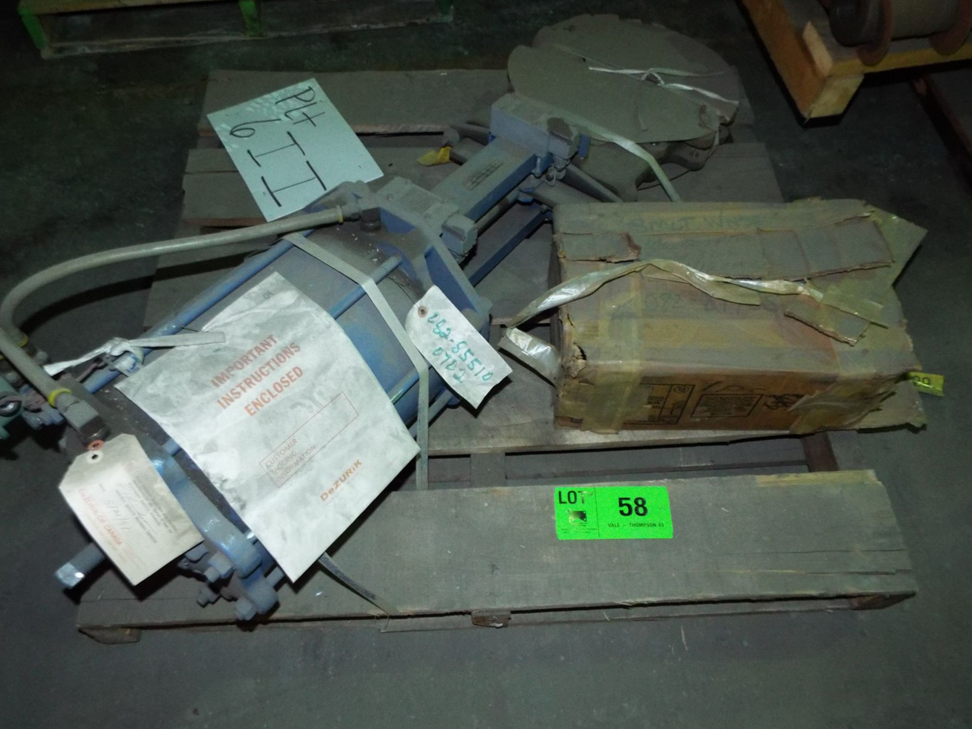 "Lot 58 - LOT/ CONTENTS OF SKID - DEZURIK 12"" STAINLESS STEEL GATE VALVE WITH SOLENOID (PLT 6II)"