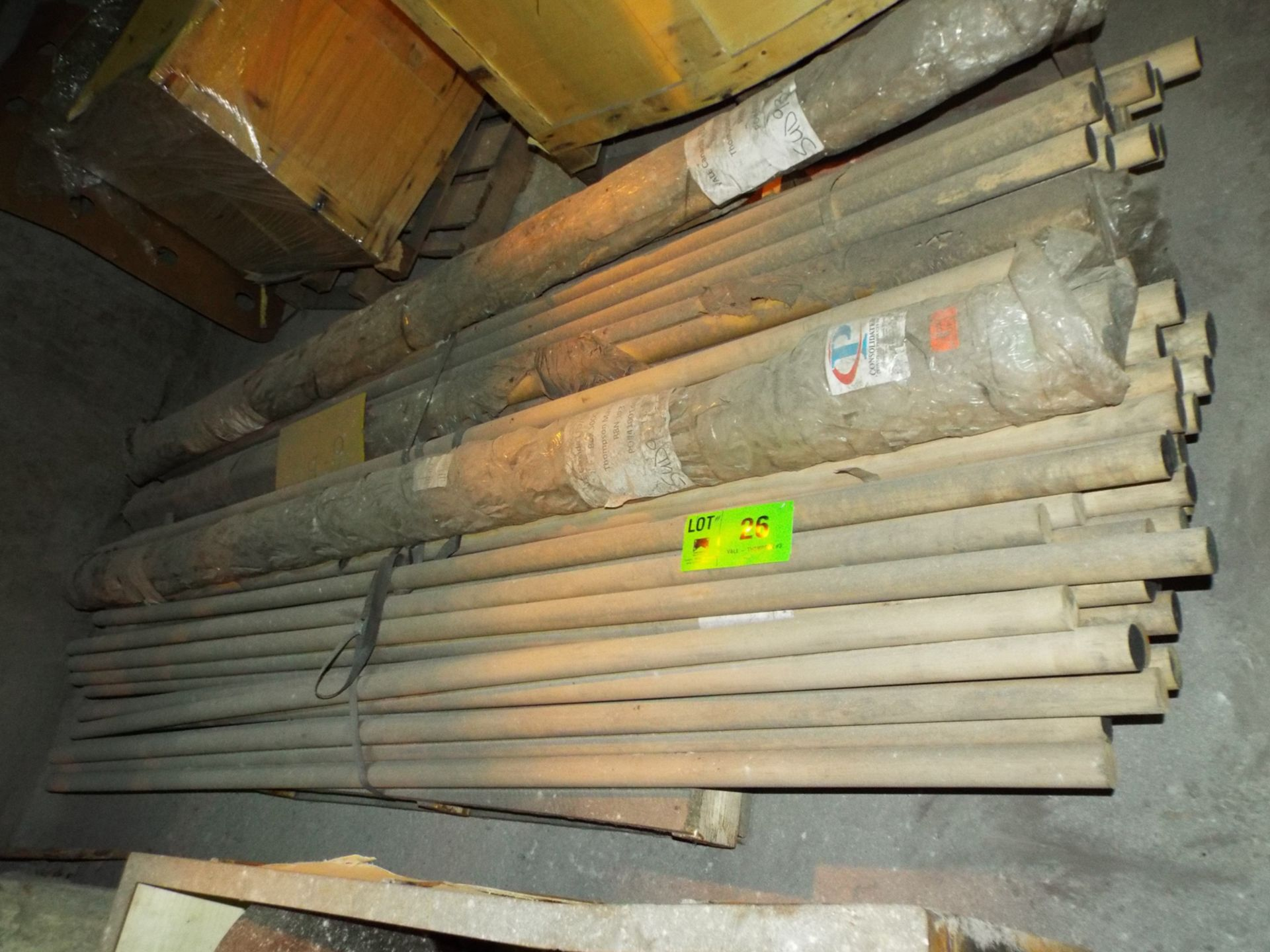 "Lot 26 - LOT/ CONTENTS OF SKID - (APPROX. 290') MAPLE HARDWOOD DOWELS 1-3/4"" DIA. X 9"" CUT TO LENGTH (PLT"