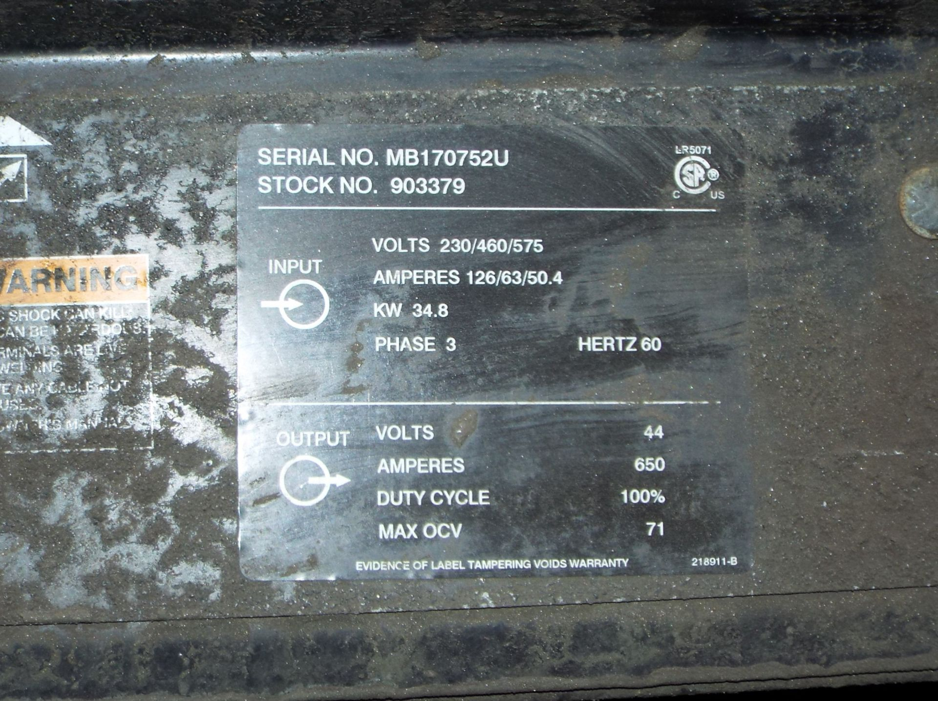 Lot 4 - MILLER DIMENSION 652 DIGITAL WELDING POWER SOURCE WITH CABLES, S/N: MB170752U