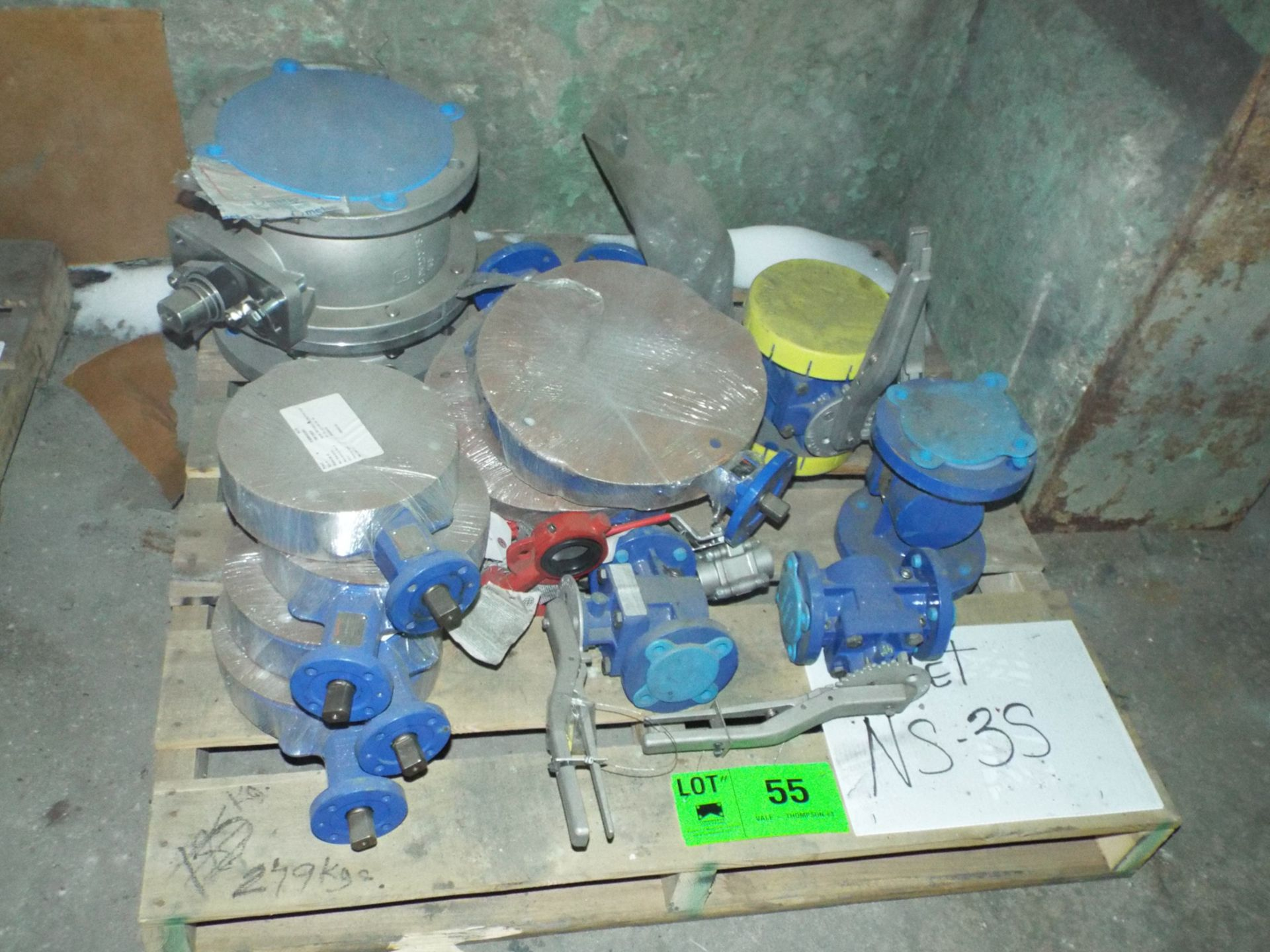Lot 55 - LOT/ CONTENTS OF SKID - BUTTERFLY VALVES, OXYGEN VALVES ASSORTED SIZES (NS-3S)