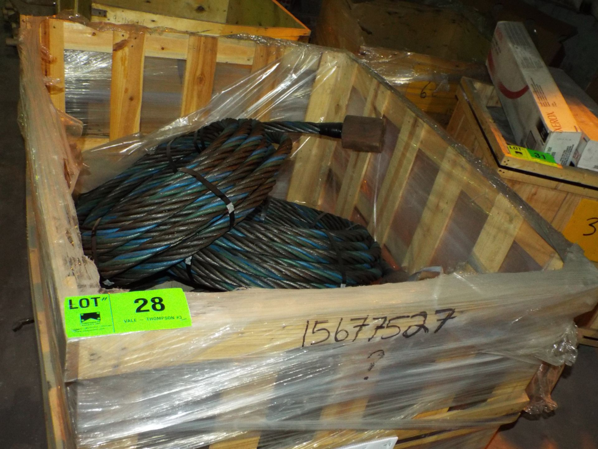 "Lot 28 - LOT/ CONTENTS OF CRATE - (4) BRIDGE SET HOISTING WIRE ROPE 1""-1/2"" DIA. (CRATE 6E)"