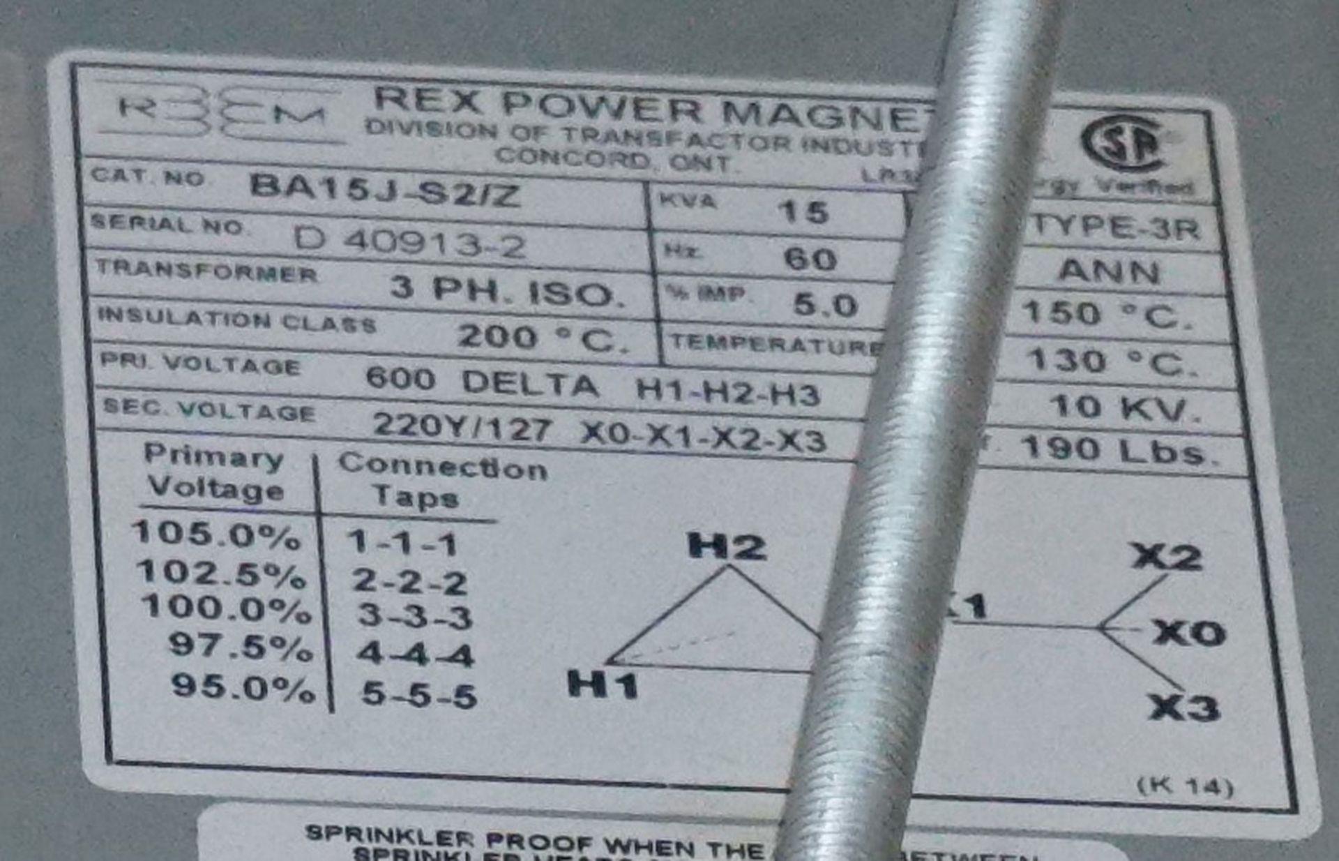 Lot 2 - REX POWER TRANSFORMER 15 KVA, 600HV-220Y/127LV, 3 PHASE (CI)