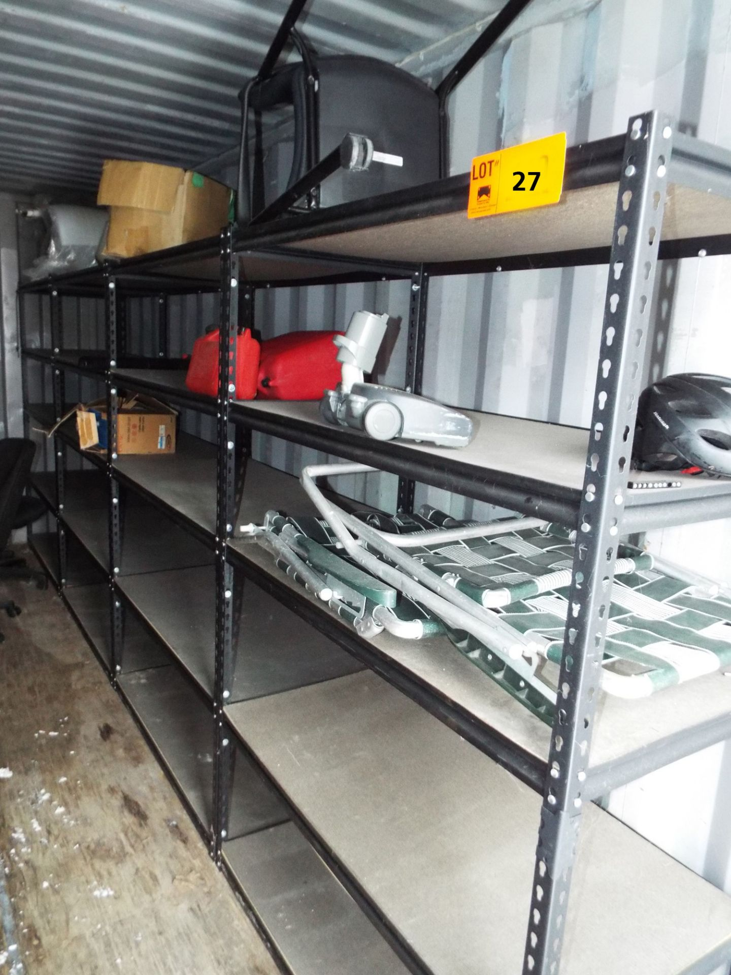 """Lot 27 - LOT/ (4) LIGHT DUTY METAL SHELF UNITS 48.5""""X24.5""""X72""""H (NO CONTENTS) (STORED IN SEA CONTAINER)"""