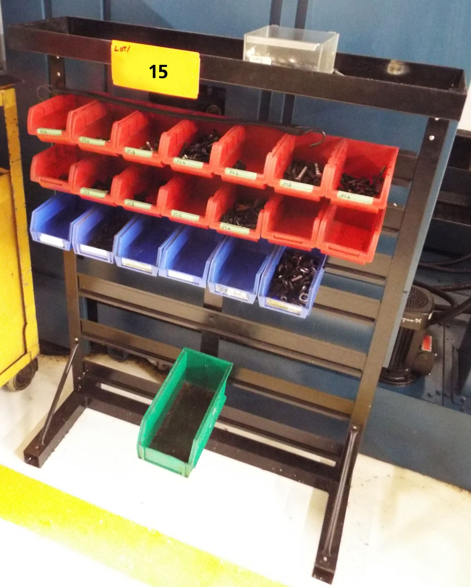 Lot 15 - LOT/ STORAGE RACK WITH HARDWARE