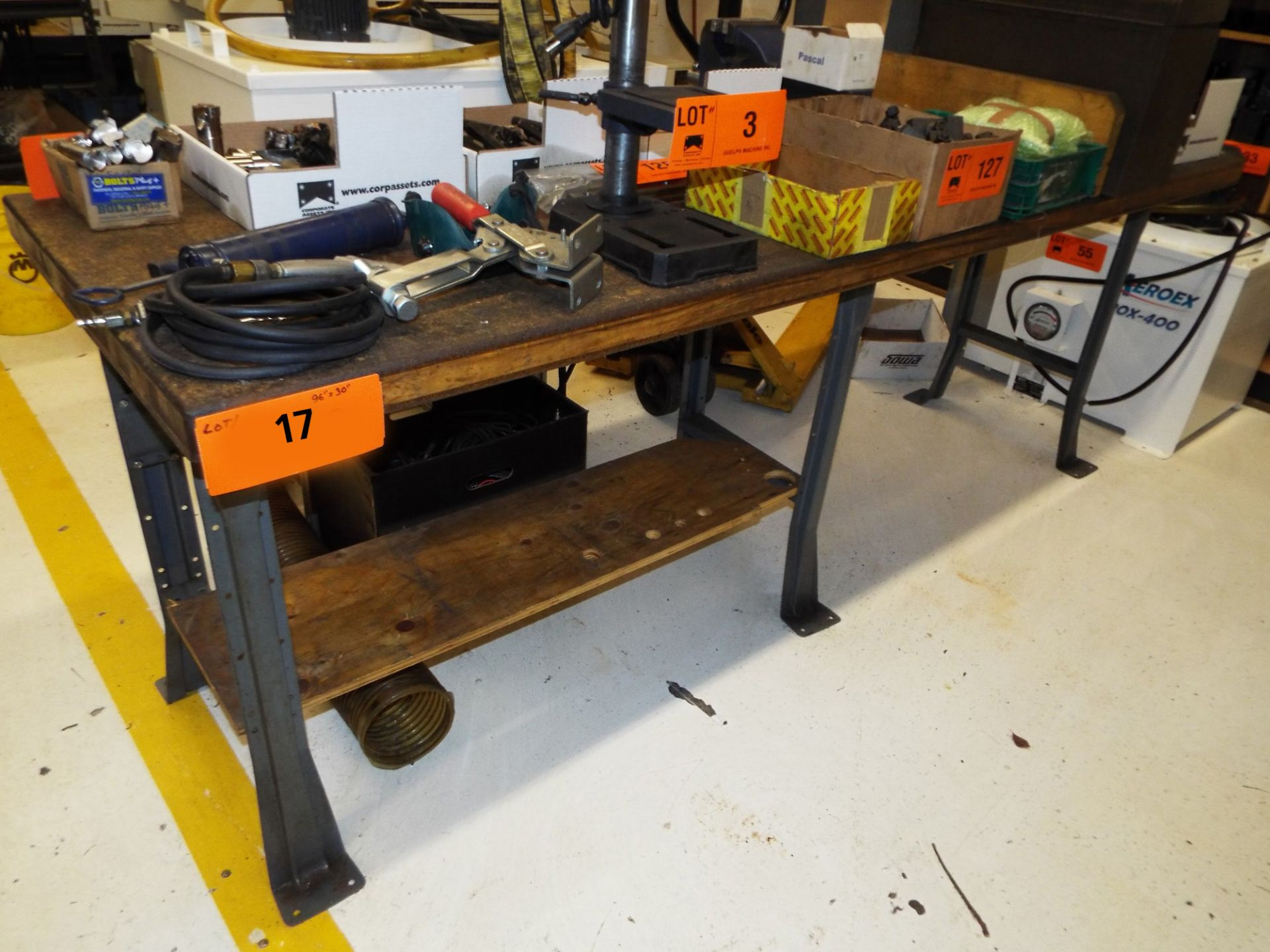 """Lot 17 - 96""""X30"""" WOOD TOP WORK BENCH (DELAYED DELIVERY)"""