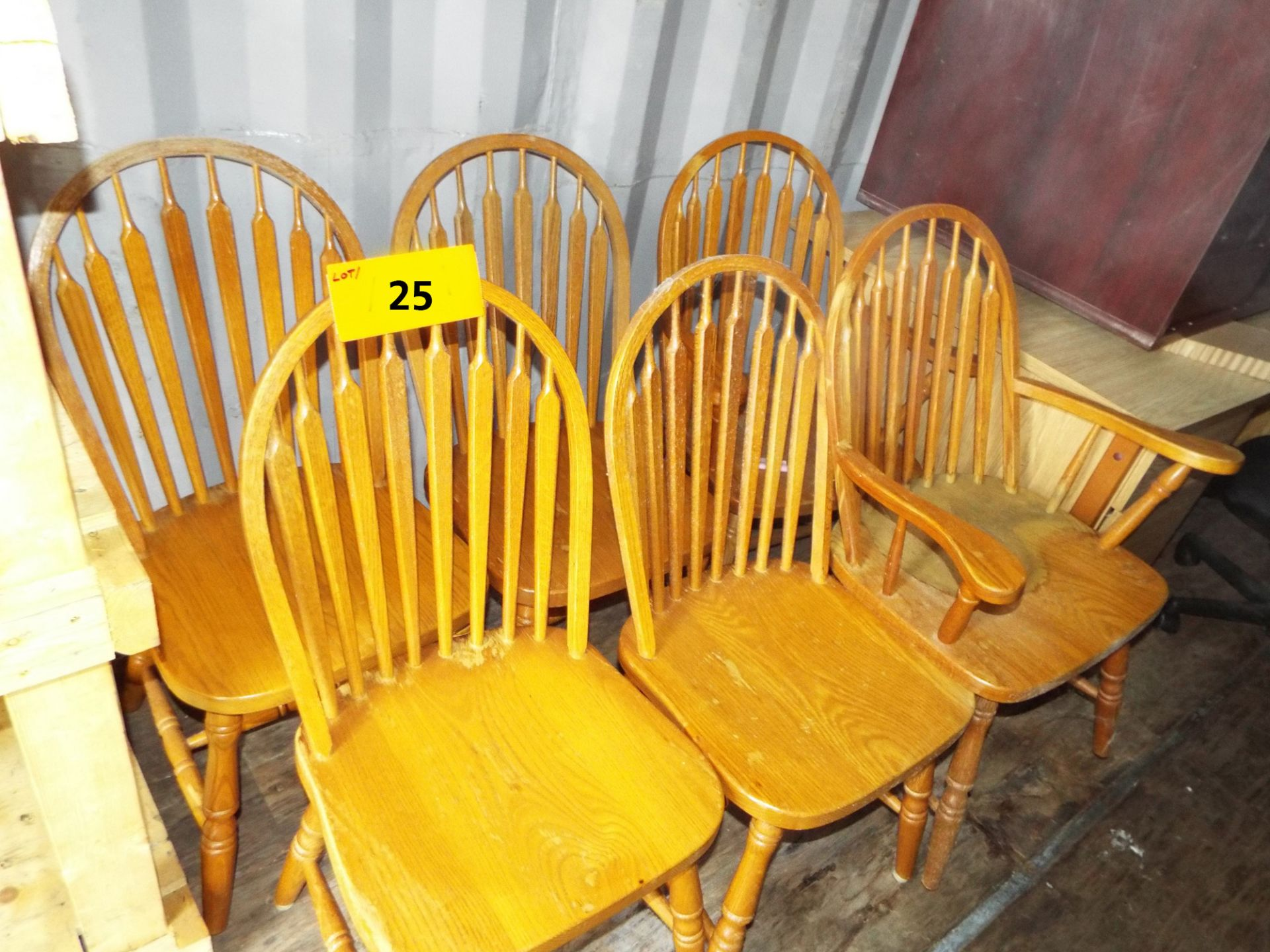 Lot 25 - LOT/ (6) WOODEN CHAIRS (STORED IN SEA CONTAINER)