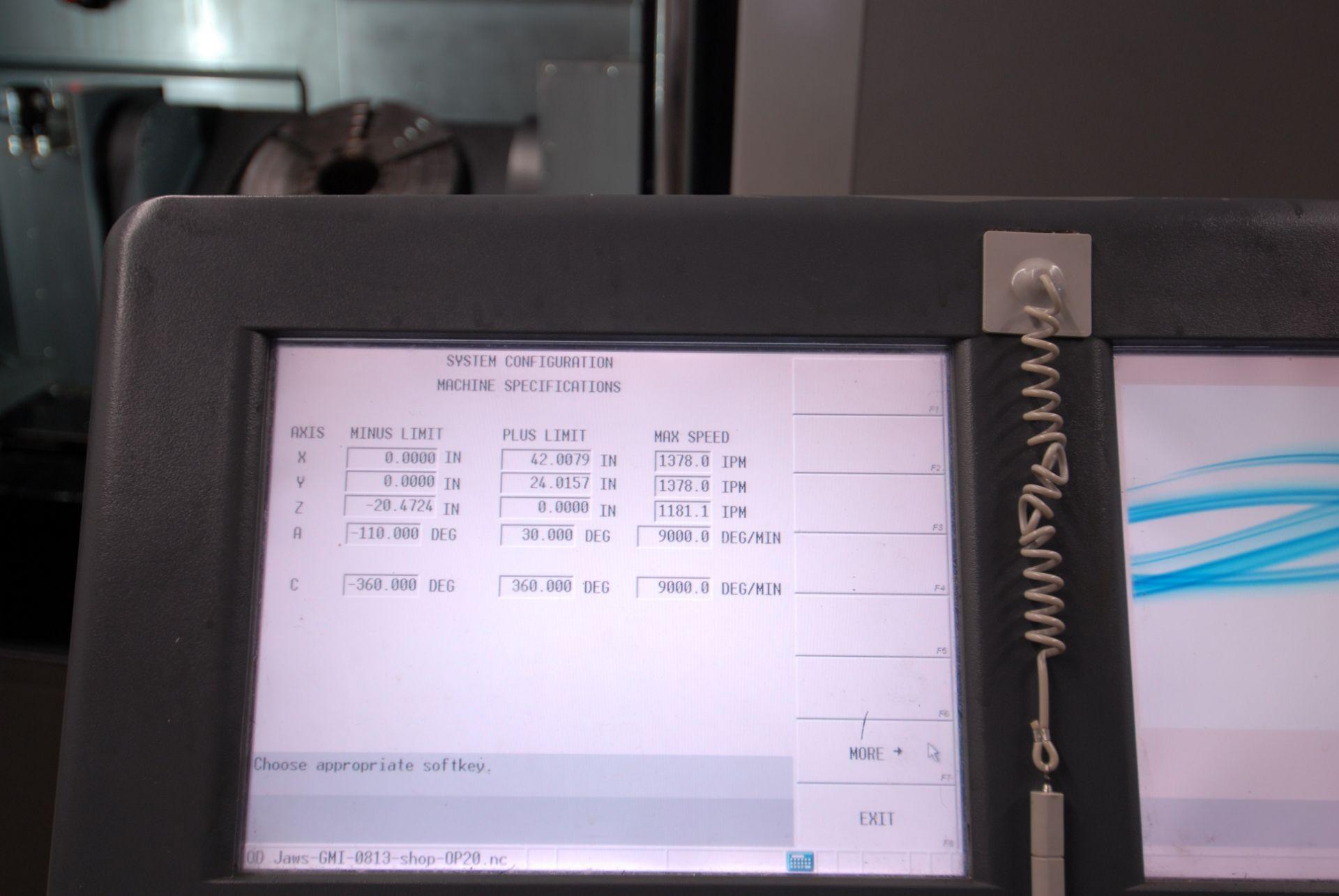 HURCO (2012) VMX42UI 5 AXIS CNC VERTICAL MACHINING CENTER WITH HURCO DUAL SCREEN CNC CONTROL, 13. - Image 5 of 20