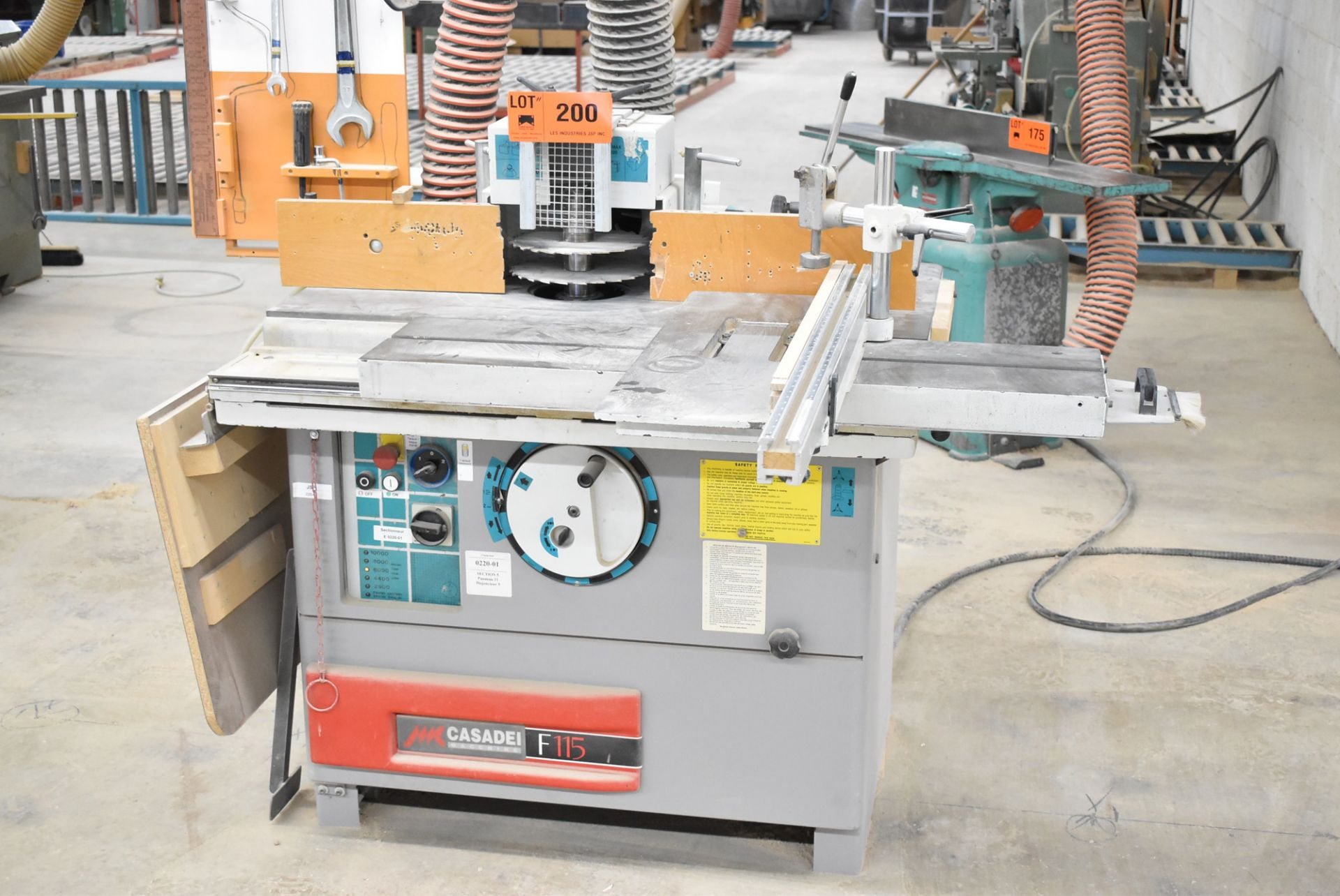 """Lot 200 - CASADEI (2000) F/115C SLIDING TABLE SHAPERS WITH 1.25"""" DIA. SPINDLE, 7"""" SPINDLE LENGTH, 8 _"""" SPINDLE"""